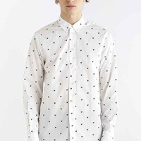 Wood Wood Damien Long-Sleeve Button- Down Shirt- White