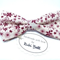 Bow Tie - creamy floral bow tie - wedding bow tie - creamy bow tie with red flower pattern - man bow tie - men bow tie - gifts for him