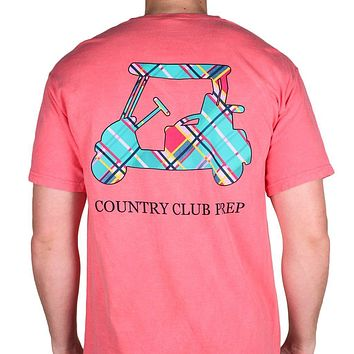 Madras Golf Cart Tee Shirt in Watermelon by Country Club Prep