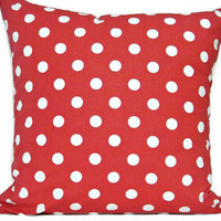 Red White Polka Dots Pillow Cover Geometric Decorative 18x18