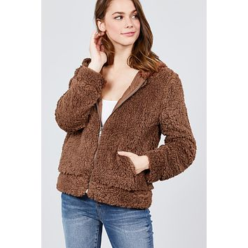 Hoodie Faux Fur Zip Up Jacket - Brown  ONLY 1 LARGE LEFT