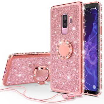 Samsung Galaxy S9 Plus Case, SM-G965U Case, Glitter Cute Phone Case Girls with Kickstand,Bling Diamond Rhinestone Bumper Ring Stand Sparkly Luxury Clear Thin Soft Protective Samsung Galaxy S9 Plus Case for Girl Women - Rose Gold