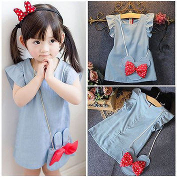 Girls Denim Minnie Mouse Dress