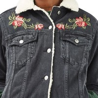 Topshop Embroidered Borg Denim Jacket | Nordstrom