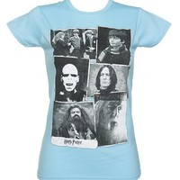 Ladies Sky Blue Harry Potter Collage T-Shirt : TruffleShuffle.com