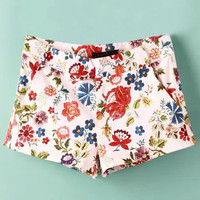 White Floral Printed Mid Waist Shorts