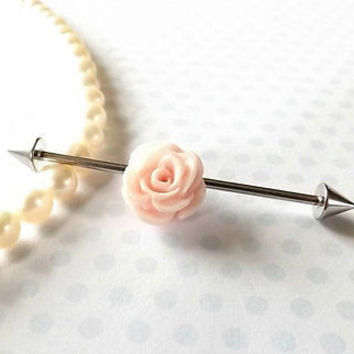Peach Rose Industrial Barbell 14ga Body Jewelry Ear Jewelry Double 1 1/2""