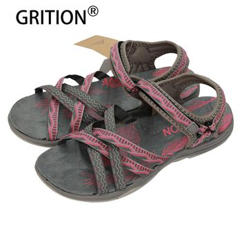 GRITION Women Flat Sandals Girls Summer Outdoor Shoes Sport Open Toe Adjustable Sandals Black Gray Pink Sand  Zapatos Mujer
