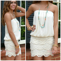 Beach Fever White Strapless Crochet Dress