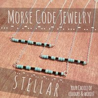 Morse Code Jewelry ANY COLOUR WORD Necklace Pendant Choker Keyring Keychain Pin Bookmark Magnet Bracelet Anklet Best Friends Couple Sister
