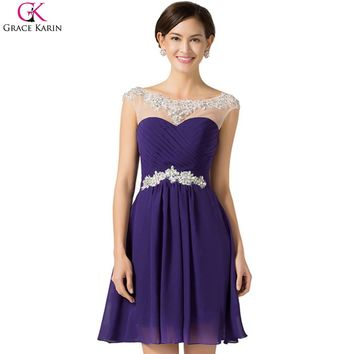 Beautiful Cheap Short Prom Dresses Grace Karin Chiffon Open Back Sequin Semi Blue Purple Knee Length Dinner Dress Formal Party