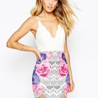 Ginger Fizz 2 in 1 Bodycon Dress With Lace Top And Floral Print Skirt