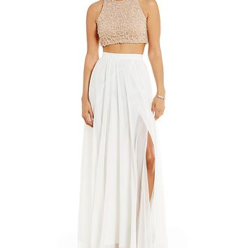 Glamour by Terani Couture High Neck Beaded Top Two-Piece Long Dress | Dillards