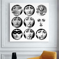 Fornasetti Frameless Paintings Modern Paintings Retro Gifts Wall Art Quotes Bedroom Decor Paintings For Living Room Wall