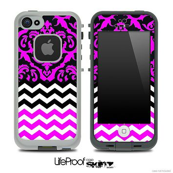 Mirrored Lace Hot Pink V2 Chevron Pattern Skin for the iPhone 5 or 4/4s LifeProof Case