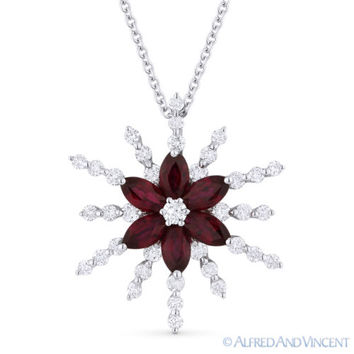 1.68ct Red Ruby & Diamond Flower Pendant in 18k White Gold w/ 14k Chain Necklace