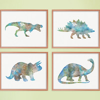 Watercolor Dinosaur, Set of 4 Prints, Dinosaur Wall Art, Dinosaur Art Print, Kids Room Art, Childrens Art, Nursery Decor, Baby Boy Nursery