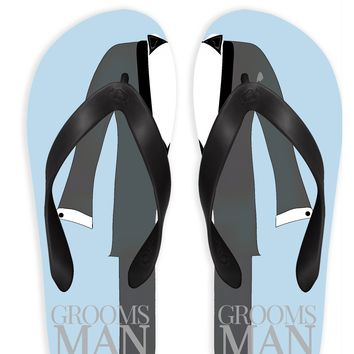 Groomsman with Blue Background Flip Flops