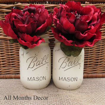 Set of 2 Painted Mason Jars, Off White Cream, Pint Size Distressed Home Wedding Event Decorations, Rustic Shabby Chic Floral, Country