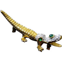 Early KJL Kenneth Jay Lane 1960's 24K Gold Plated Figural Alligator Pin Brooch