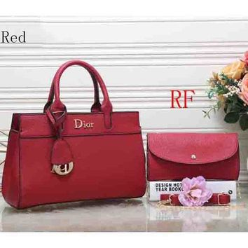 ac NOVQ2A Dior 2018 latest women's fashion elegant leather handbag (Two sets) F-RF-PJ Red