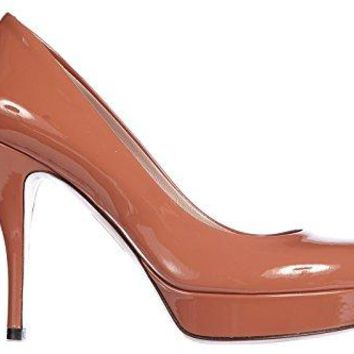 Gucci Women's Leather Pumps Court Shoes High Heel Crystall Patent Leather Brown