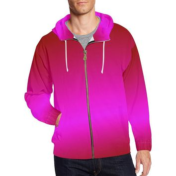 Pink Design 1 Men's All Over Print Full Zip Hoodie