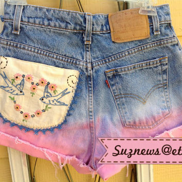 Embroidered Heart Levi High Waisted Shorts Pink Dip Dyed Waist 28 Festival Boho Linen Embroidery Swallows //SUZNEWS ETSY Store//