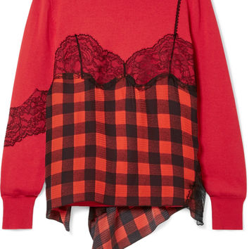 Preen by Thornton Bregazzi - Caia lace-trimmed gingham silk-jacquard and wool-blend sweater