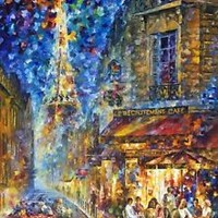 "PARIS - RECRUITEMENT CAFE  —  Oil Painting On Canvas By Leonid Afremov. 30""x40"""