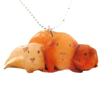 Realistic Guinea Pigs Hamsters Animal Shaped Pendant Necklace | Handmade