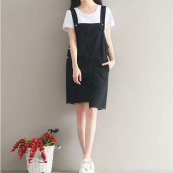 SIMPLE HEM IRREGULAR SKIRT COLOR COWBOY STRAP SKIRT TIDE