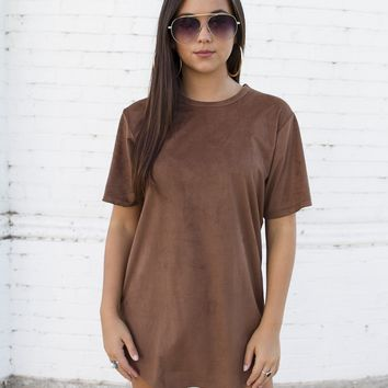 Suede Long Chocolate Tee
