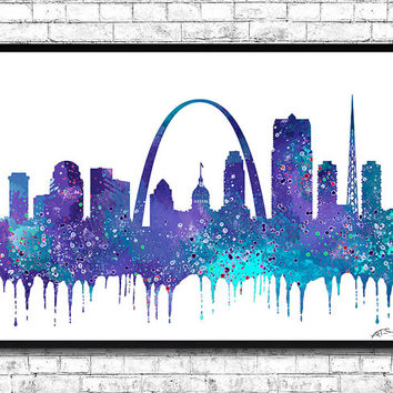 Saint Louis Watercolor Print City Skyline Saint Louis Purple/Blue Poster City Watercolor City Silhouette Wall Hanging Home Decor Giclee Art