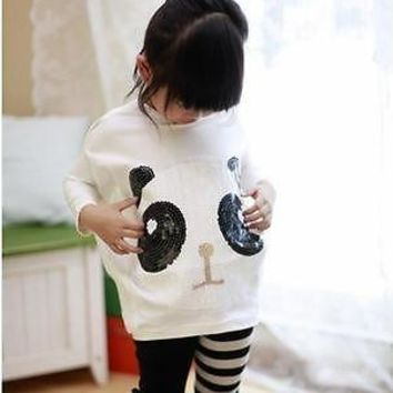 Girls 2Pcs Sets Panda Bat Sleeve Tops and Leggings Kids Baby Clothes Outfits 2-7Y