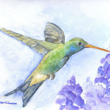 Hummingbird Watercolor Painting Original by SusanWindsor on Etsy