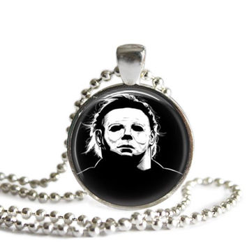 Michael Myers Necklace John Carpenter's Halloween Silver Plated Picture Pendant