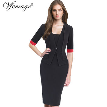 Vfemage Womens Elegant Faux Jacket Contrast Patchwork Slim Vintage Work Office Business Party Bodycon Pencil Sheath Dress 6342