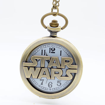 Fashion Bronze STAR WARS Sci-fi Science fiction movies Quartz Pocket Watch Analog Pendant Necklace Mens Womens Watches Gift