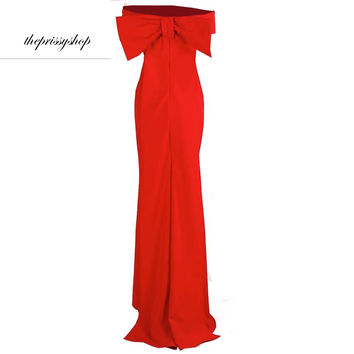 Giant Bow Red Gown Dress