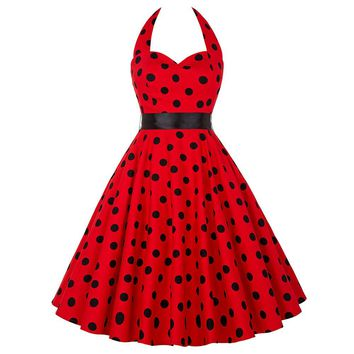 Summer Womens Dresses 2017 Casual Polka Dot Women Retro Vintage 50s 60s Dress robe Rockabilly Swing Pinup Plus Size Party Dress