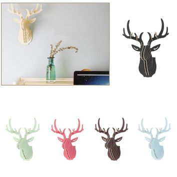 Excellent 3D Puzzle Wooden DIY Model Wall Hanging Deer Head Elk Wood Animal Wildlife Sculpture Figurines Gift Crafts Home Decor