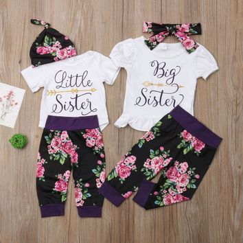 Big Sister and Little Sister Matching Floral Pant Outfits