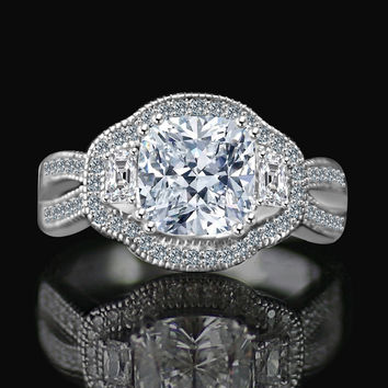 2.5CT. Cushion Radiant Vintage micro pave halo split shank engagement/wedding three stone ring Simulated Diamond - Diamond Veneer. 635R4004
