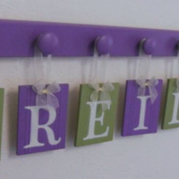 Wood Letters Kids Room Hanging Signs REILLY with BUTTERFLIES Nursery Themes Includes 8 Wooden Pegs Purple and Green