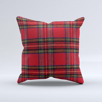 Red Stuart Tartan Plaid Fabric Pattern  Ink-Fuzed Decorative Throw Pillow
