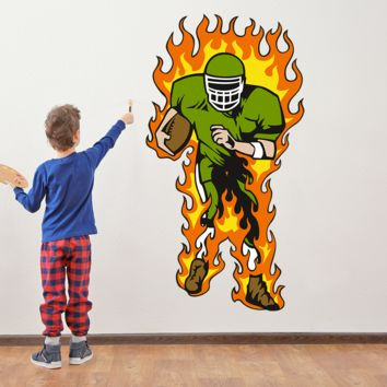 Flaming Football Running Back Wall Art Decal