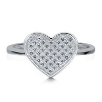 Sterling Silver 925 Micro Pave Cubic Zirconia CZ Flat Heart Shape Ring #r615