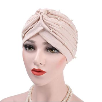 Luxury Beaded Fold Turban