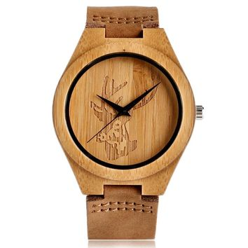 Bamboo Wrist Watch With Genuine Leather Band